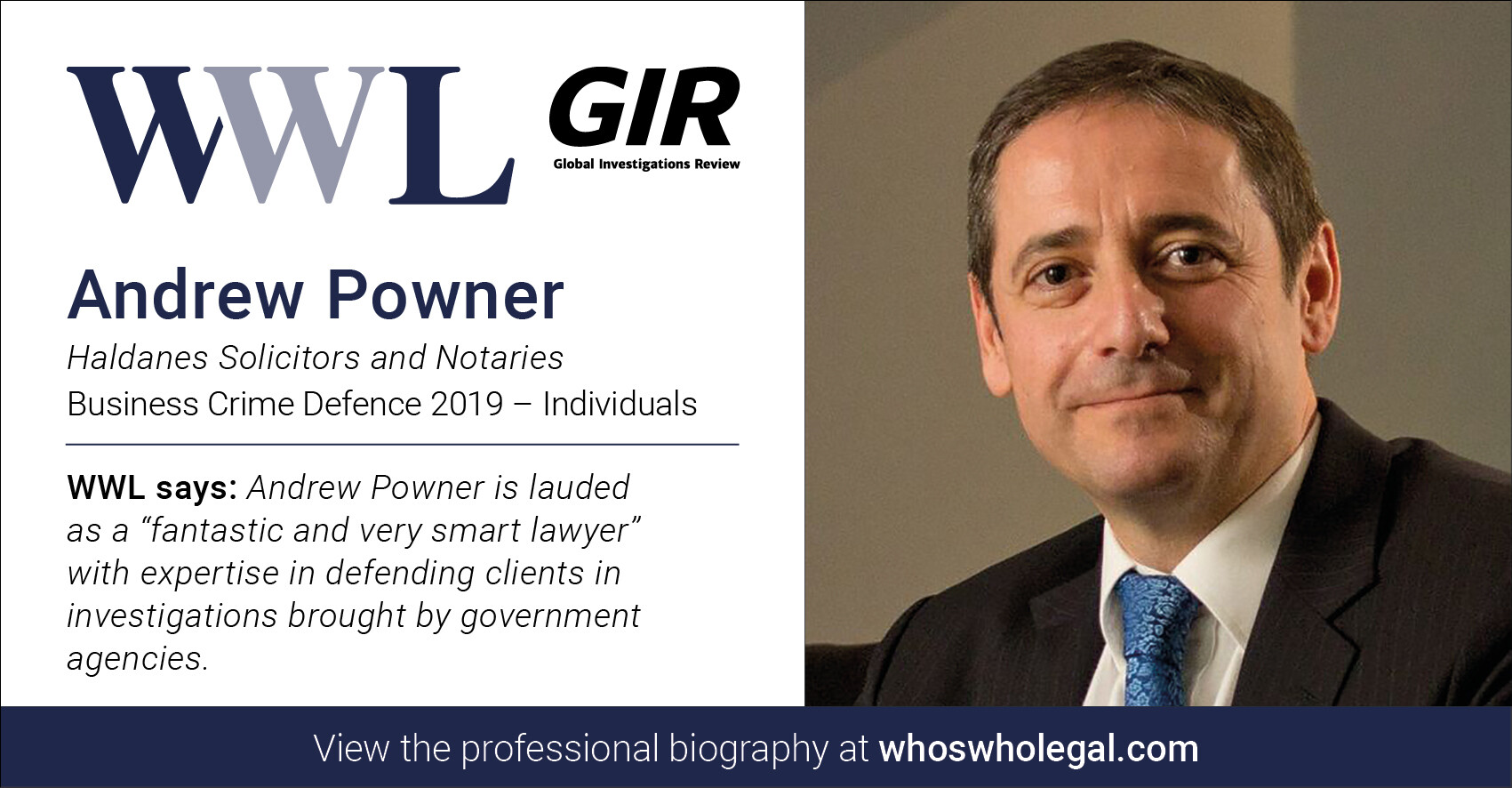 Andrew Powner WWL 2019 1 - Haldanes recognised in Who's Who Legal Business Crime Defence 2019