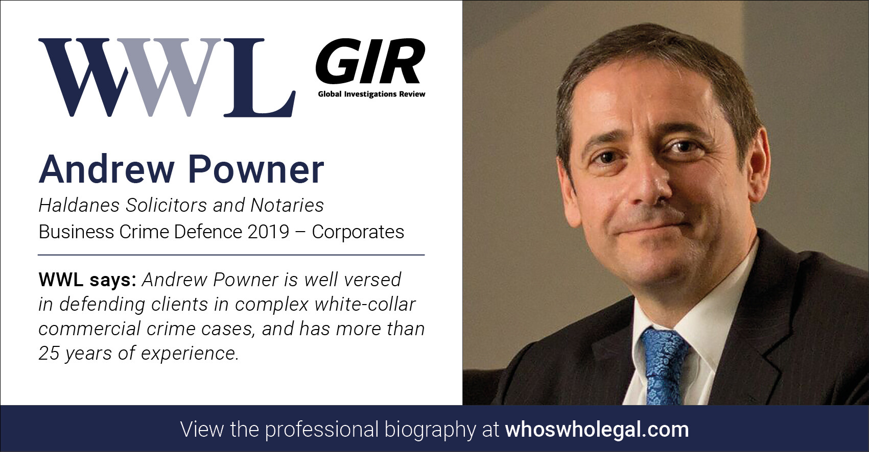 Andrew Powner WWL 2019 2 - Haldanes recognised in Who's Who Legal Business Crime Defence 2019