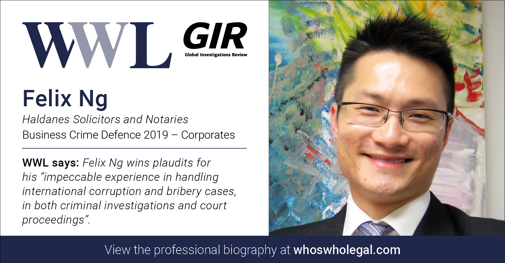 Felix Ng WWL 2019 1 - Haldanes recognised in Who's Who Legal Business Crime Defence 2019