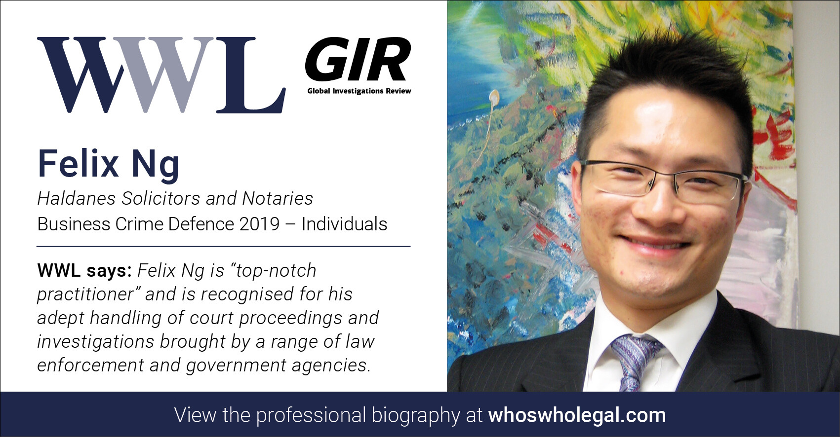 Felix Ng WWL 2019 2 - Haldanes recognised in Who's Who Legal Business Crime Defence 2019