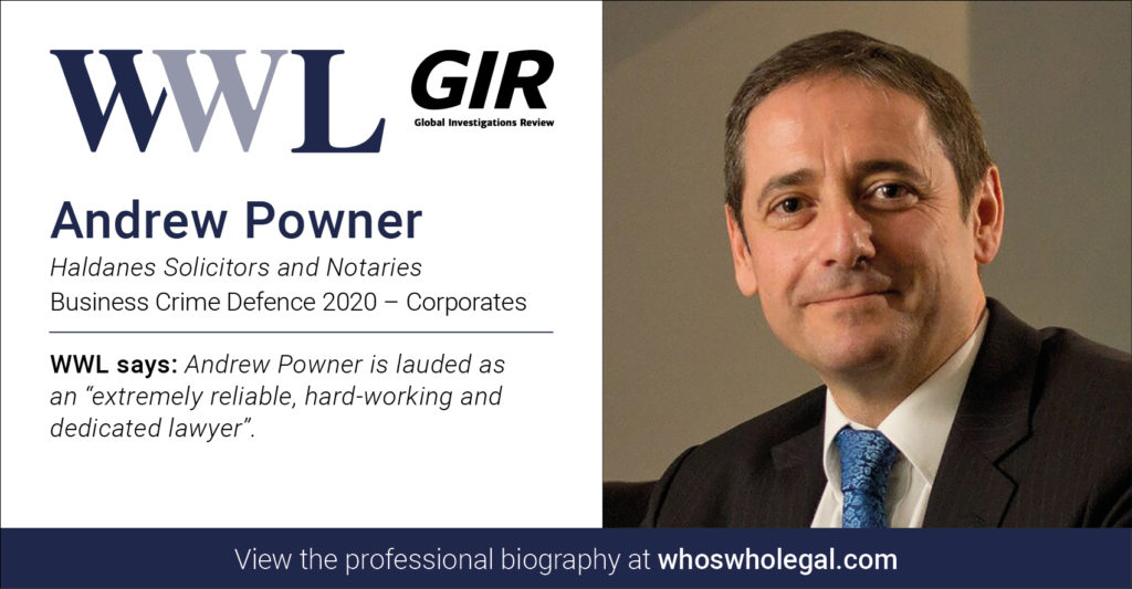 Andrew Powner Social Media Card Business Crime Defence Corporates 1024x533 - Haldanes recognised in Who's Who Legal Business Crime Defence 2020