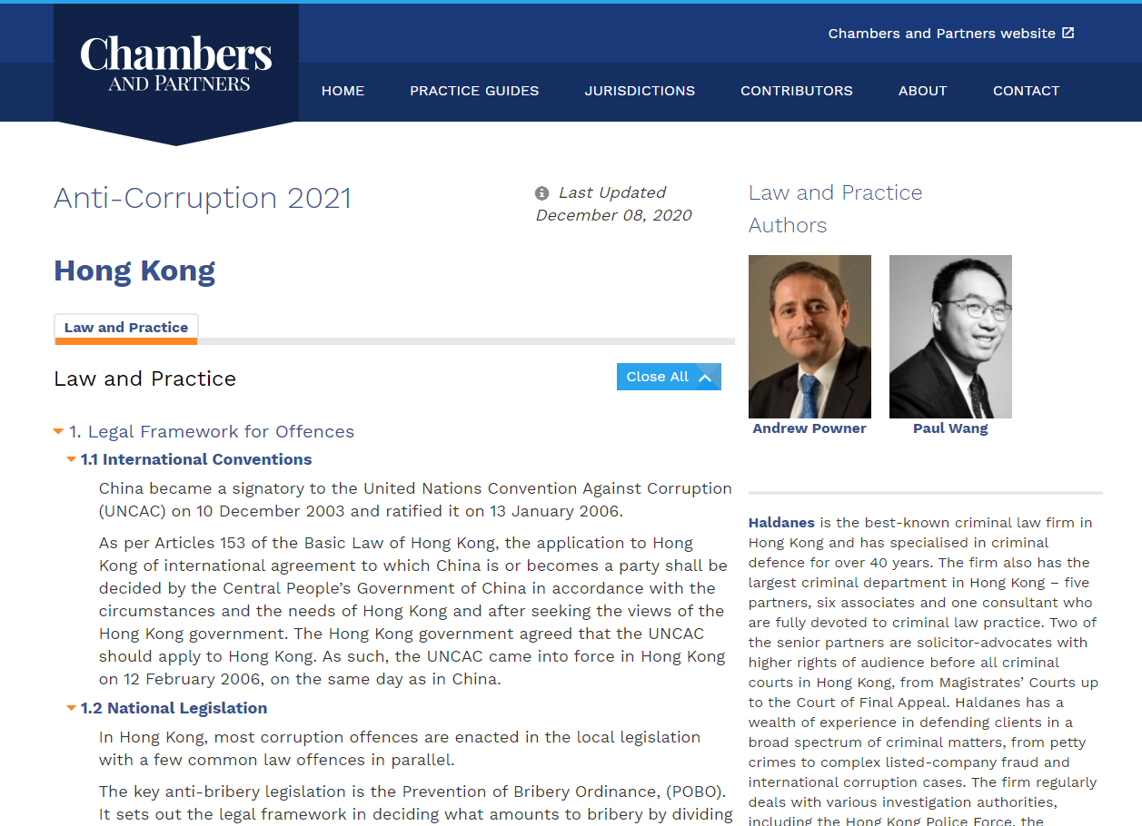 "Anti corruption - Andrew Powner and Paul Wang co-authored the Hong Kong Chapter to the ""Anti-Corruption 2021"" at Chambers & Partners"