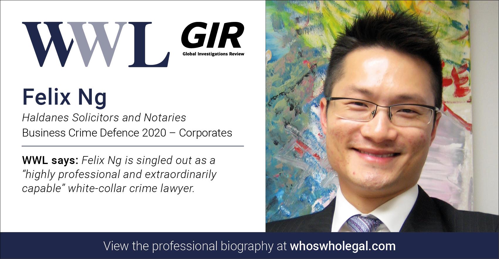 Felix Ng Social Media Card Coporate - Haldanes recognised in Who's Who Legal Business Crime Defence 2020