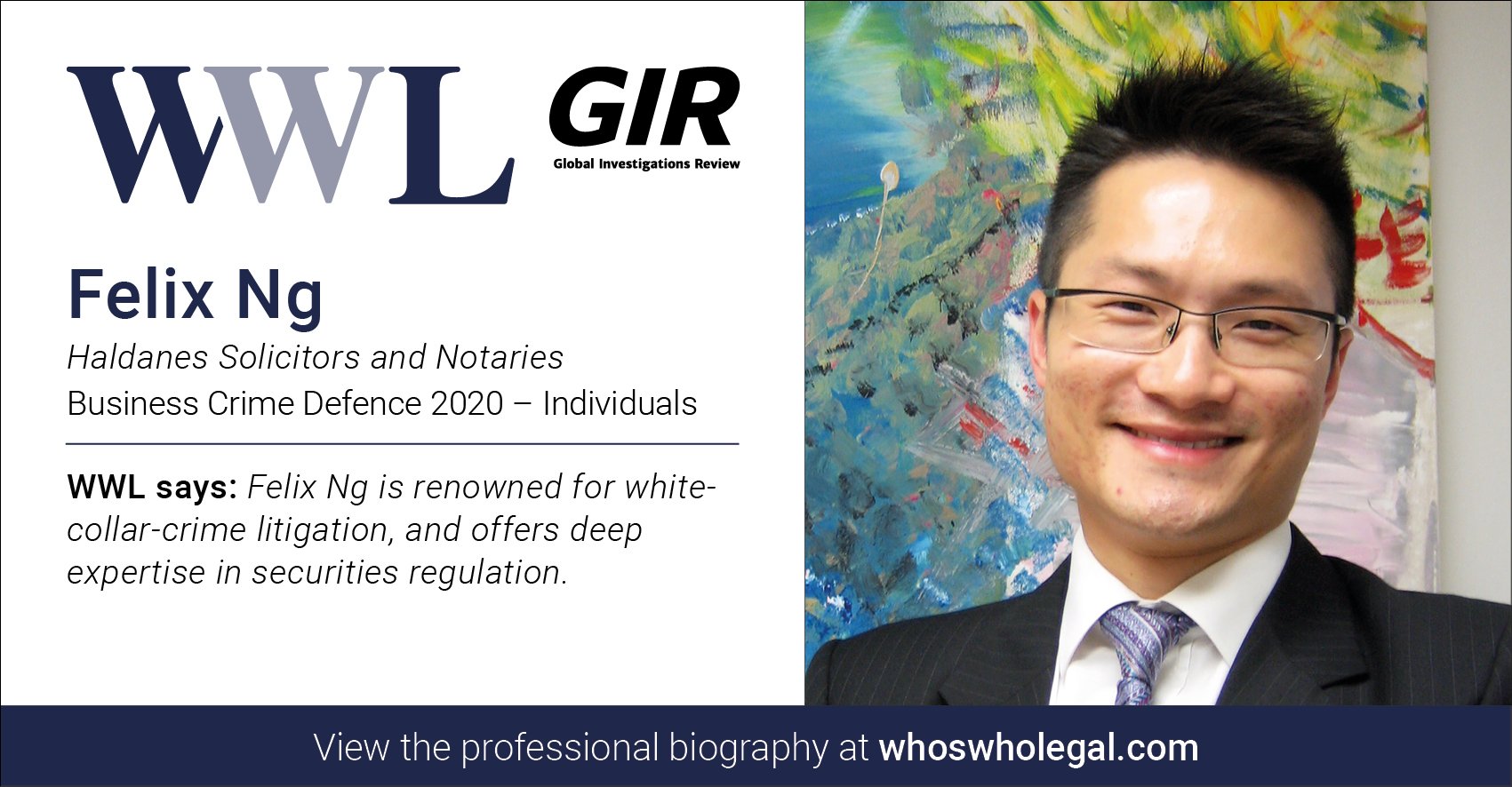 Felix Ng Social Media Card Individuals - Haldanes recognised in Who's Who Legal Business Crime Defence 2020