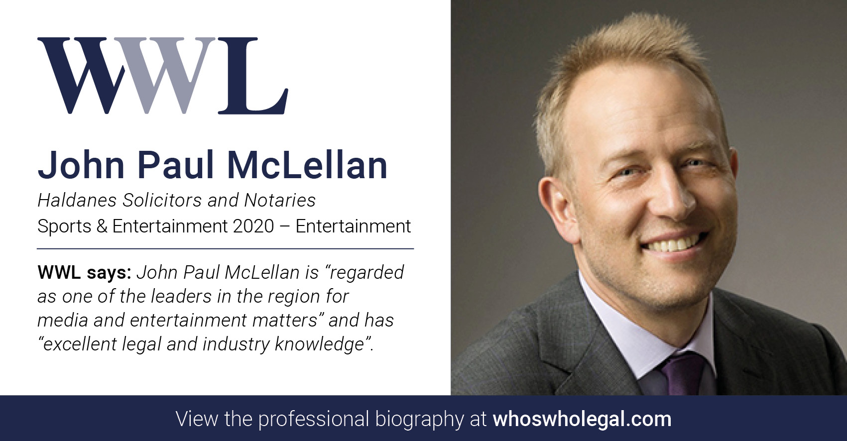 J McLellan WWL SpEnt Ent - John McLellan recognised in Who's Who Legal Sports & Entertainment 2020