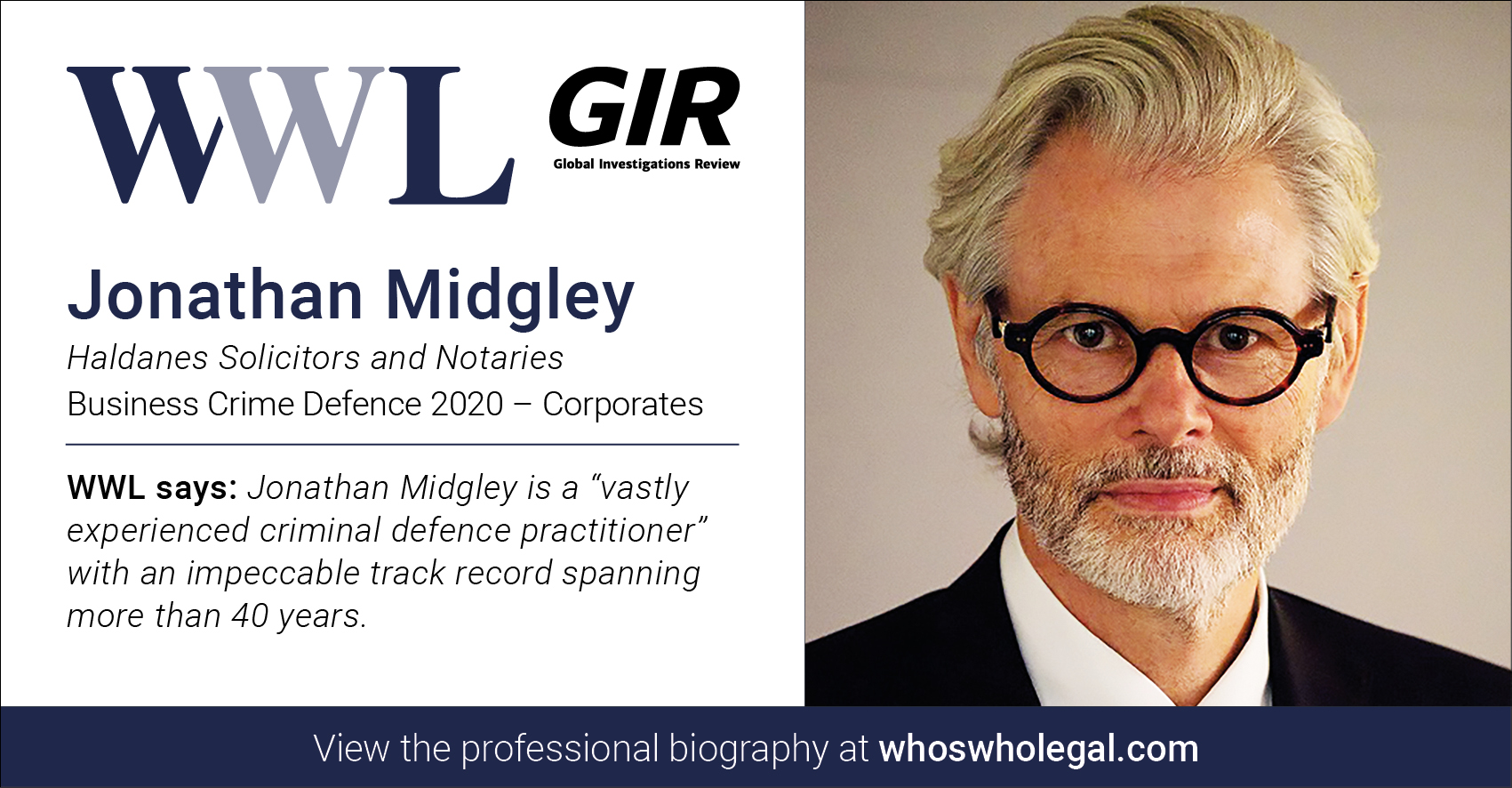 Jonathan Midgley Social Media Card Corporates - Haldanes recognised in Who's Who Legal Business Crime Defence 2020