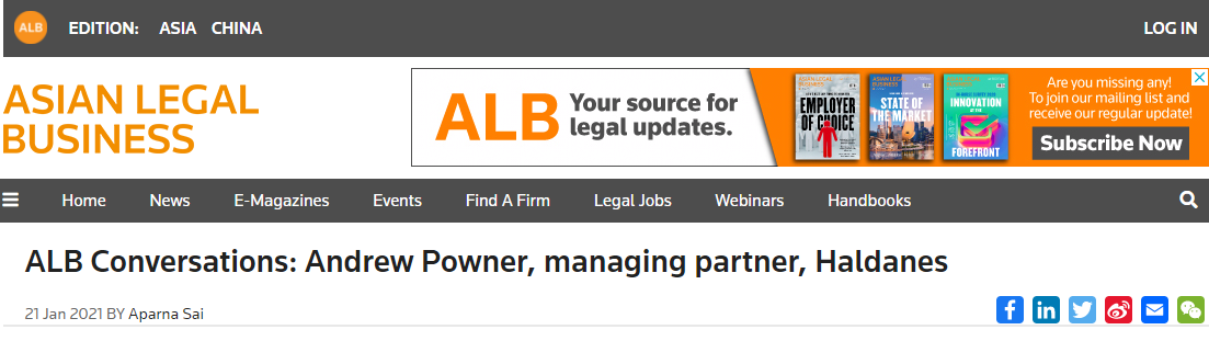 Screenshot 2021 01 21 170804 1 - Our Managing Partner, Andrew Powner, talked to Asian Legal Business about how Haldanes football team influenced his decision to join the firm, with football stars John McLellan, Geoff Booth, Jonathan Midgley and Boris Suen